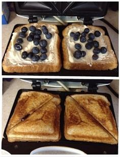 Blueberry Breakfast Grilled Cheese!! Cream Cheese,powered Sugar, Blueberries, Bread. Sandwich Maker Recipes, Breakfast Sandwich Maker, Sandwich Toaster, Waffle Sandwich, Cream Cheese Filled Banana Bread Recipe, Cream Cheese Filling, Banana Bread Recipes, Cake Recipes, Dessert Recipes