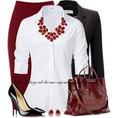 wine skirt + white blouse + black blazer + statement necklace