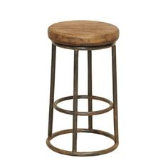 This modern take on an old classic bar stool is a show piece in any home. The Industrial Bar Stool features a solid reclaimed pine wood seat and it's sturdy iron base construction. Handcrafted from salvaged wood and recycled iron. Rustic Counter Stools, Reclaimed Wood Counter, Metal Bar Stools, Kitchen Stools, Bar Counter, Metal Chairs, Salvaged Wood, Classic Home Furniture, Unique Furniture