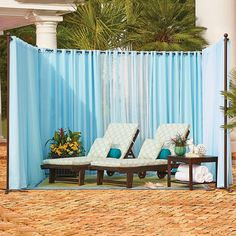 Our Freestanding Outdoor Curtain Rod With Posts Set Allows You To Easily  Add Privacy To Any