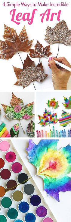Love all of these fun ideas for decorating leaves. There's art supplies I never thought of using before.