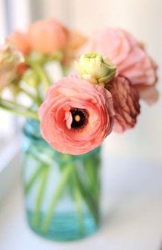Blue mason jar wedding flowers