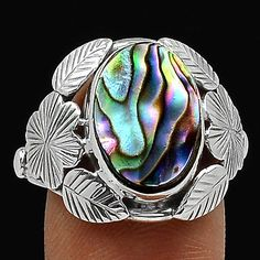 Abalone-Shell-925-Sterling-Silver-Ring-Jewelry-s-8-SR108892
