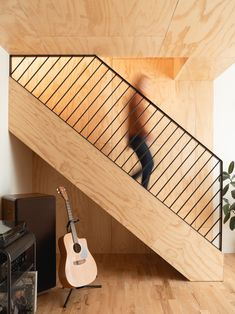 Project by MOA in Montreal, Quebec (Canada). Plywood staircase and steel railing. Staircase Railing Design, Stair Handrail, Stair Design, Steel Railing, Interior Stairs, Interior Architecture, Index Design, Mezzanine Bedroom, Escalier Design