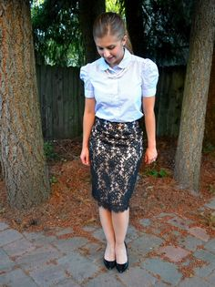 High waisted skirts with tucked in blouses are always great way to define waist/ hip line