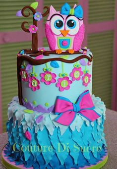 Pink with Blue Ombré Ruffles and Flowers Owl Cake (Karina)