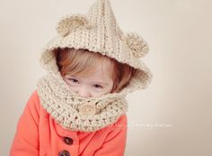 Teddy Bear Hooded Cowl- Crochet hat for Toddlers and Girls on Etsy, $30.19