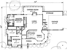 The Copeland Plan 2894 - 3 Bedrooms and 2 Baths | The House Designers. Remove the garden room (turn into a deck).  **FAVORITE**