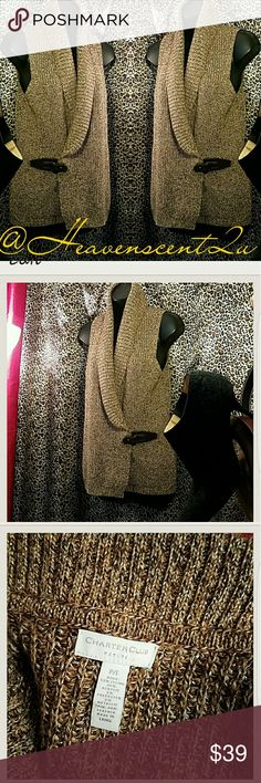 "CHARTER CLUB Chunky Sweater Vest w/leather buckle faster at side    Size P/L length 25' chest 40""   Thanks for stopping by my Posh Closet  Please come again soon  Ciao Sweaters Cardigans"
