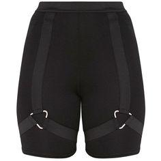 Grey Check Print Harness Shorts ($19) ❤ liked on Polyvore featuring shorts, grey shorts, gray shorts, checked shorts, checkerboard shorts and checkered shorts