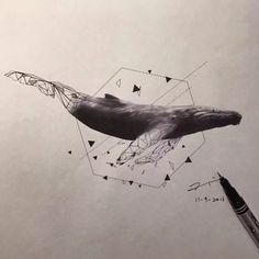 geometric whale tattoo design by Esther C.