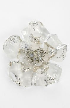 Alexis Bittar Clear Flower Statement Pin by hilda