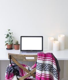 """Berry Pink"" Mexican Blanket at lindsay marcella design home office 