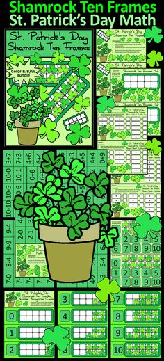 Shamrock Ten Frames St. Patrick's Day Math Center Activity: Give your students a fun and festive way to practice their math addition and subtraction facts in a hands-on way!  Contents Include: * Student Work Mat * Instruction Set * Number Cards * Shamrock Math Counters * 130 Shamrock Ten FramesMath Problem Cards * Number Recognition Cards * Student Record Sheets: Addition & Subtraction  #St. #Patrick's #Day #Shamrock #Math #Activities #Teacherspayteachers