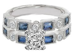 Radiant Cut Diamond Engagement Ring Blue Sapphire Accents & Matching Wedding Ring in 14K White Gold