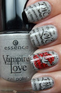 Kiss and Newspaper Nail Art.  Gorgeous!  I wonder how this would look paired up with Burnt Paper nail art? http://www.pinterest.com/pin/474074298246631329/
