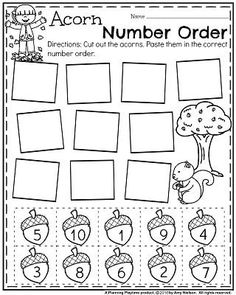 Fall worksheets help your child learn while the leaves are changing. Use these fall worksheets to learn about changing seasons, fall holidays, and more. Printable Preschool Worksheets, Kindergarten Worksheets, Worksheets For Kids, Kindergarten Classroom, Cut And Paste Worksheets, Number Worksheets, Counting Worksheet, Free Printable, Numbers Preschool