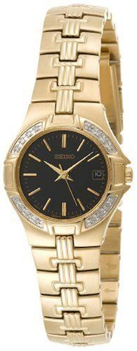 Seiko Women's SXDA44 Diamond Gold-Tone Watch Seiko. $144.95. Strong Hardlex crystal protects dial from scratches. Stainless steel case; black dial; date function. Case diameter: 25 mm. Water resistant up to 99 feet (30 M). Reliable Japanese-quartz movement. Save 63%!