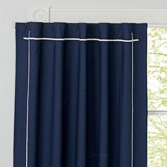 This solid navy blackout panel with white embroidery has a refreshingly simple style that allows it to match the décor in just about any bedroom. Designed exclusively for us by Genevieve Gorder. Shop all . Curtains Behind Bed, Kids Room Curtains, Matching Bedding And Curtains, Bedroom Curtains, Bedroom Kids, Master Bedroom, Blackout Panels, Blackout Curtains, Panel Curtains