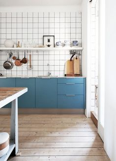 Blue kitchen details and retro tiles #scandinavianhome #interiorinspiration