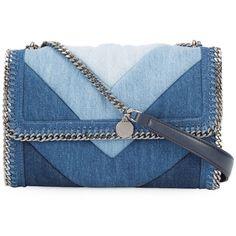 Stella McCartney Denim Chain Shoulder Bag (€980) ❤ liked on Polyvore featuring bags, handbags, shoulder bags, blue, quilted purses, denim shoulder bag, quilted handbags, blue purse and denim handbags