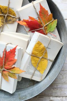 Easy and Inexpensive Home Decor {Bound Books + Leaves} - House by Hoff