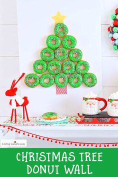 How to make a Christmas Tree Donut Wall. This simple Christmas party food craft and homemade donut recipe will wow your guests making you and your adorable donut wall the hit of the season! Cute party dessert table idea, holiday decor and breakfast treat. Christmas Donuts, Christmas Party Food, Cool Christmas Trees, Simple Christmas, Holiday Parties, Christmas Crafts, Christmas Ideas, Christmas Recipes, Holiday Ideas