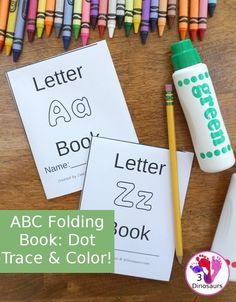 ABC Folding Book: Dot Trace & Color - all 26 letters in fun folding books for kids to use! These are great for a quick review or introduction and make great centers for kids - 3Dinosaurs.com #3dinosaurs #abcprintables #preschool #kinder #noprepprintables #tpt