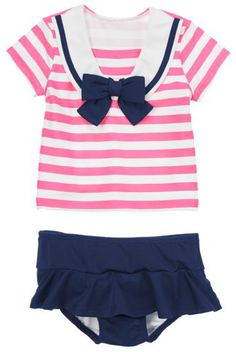 New Baby Gifts:  Sailor Striped Rash Guard Two-Piece Swimsuit Set for Baby Girls @ Gymboree