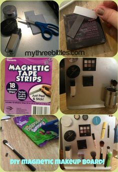 DIY magnetic makeup board with my three bittles!
