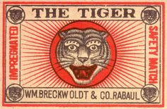 Would like to see this layout in use. The balance of the text of 'The Tiger' may work well for 'Big Trouble' and the other text could have some other relevant text to our truck. I am digging on this one a little more each time I look at it. Vintage Labels, Vintage Ads, Vintage Posters, Vintage Designs, Posters Conception Graphique, Tiger Illustration, Matchbox Art, Tiger Art, Art Graphique