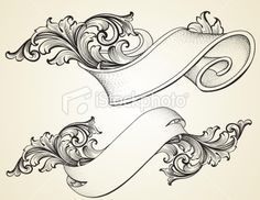 Scroll Banner | Curled Scroll Banners Royalty Free Stock Vector Art Illustration