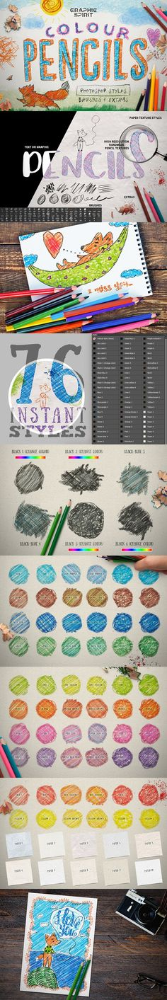COLOUR PENCIL BOX Photoshop Styles by Graphic Spirit on @creativemarket