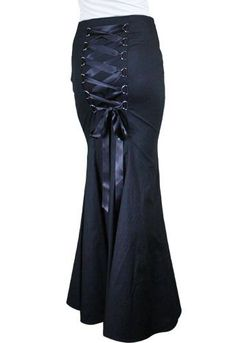 ChicStar - Gothic Fishtail Skirt w/ Corset Back Lacing - Black [CS36810] - $63.47 :