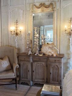Decorating With Antique Crystal Sconces - decoration,wood,wood working,furniture,decorating Dream Furniture, French Furniture, French Decor, French Country Decorating, Country French, Beautiful Interiors, Beautiful Homes, Crystal Sconce, Crystal Chandeliers