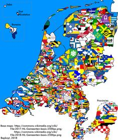 Flag map of Dutch municipalities (Netherlands) Holland Map, Netherlands Map, Topography Map, Pictorial Maps, Uk History, Alternate History, Flags Of The World, Flag Design, National Flag
