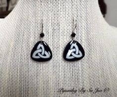 Eco Little Black and White Celtic Triangles by PysankyBySoJeo, $35.00