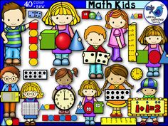 This is a big set of clip art kids featuring primary math skills. Many math items are also included stand alone for more versatility, and the black and white versions are included! $ Whimsy Workshop Teaching  http://whimsyworkshop.blogspot.ca/p/clipart.html