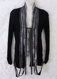 Womens BKE BOUTIQUE Black Knit Shredded Lace Embellished Front Cardigan Size M #TheBuckleBKEBoutique #KnitCardigan #Casual