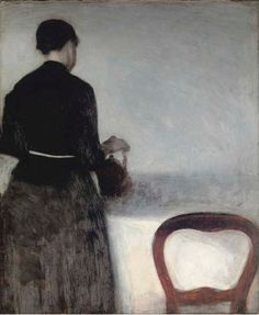 Vilhelm Hammershoi (Danish, 1864-1916) En unge pige, som hoelder af en kande (Young Girl Pouring Tea - the Artist's Sister) oil on canvas 20 1/8 x 16¾ in. (51 x 42 cm.) Painted in 1884 Christie's Hunters and Gatherers