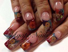 Encapsulation nail art Gel Nail Art Designs, Colorful Nail Designs, Beautiful Nail Designs, Nails Design, Design Design, Great Nails, Fabulous Nails, Hot Nails, Swag Nails