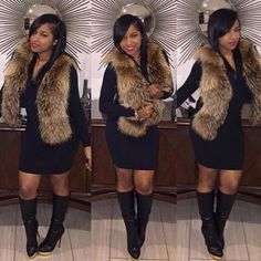 Celebrity Winter Fashion Outfit OOTD Faux Fur Gilet Waistcoat Bodycon Dress Leather Knee High Boots Style Trend Fashionista Stylish