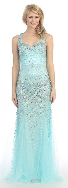 Get a mesmerizing look in an instant by slipping into this beautiful evening dress in mint to contest at a beauty pageant!  #discountdressshop #pageant #gown