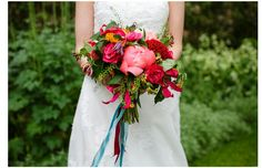 Amaaazing pink and turquoise bouquet