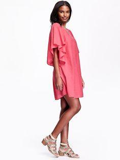 Sheer Flutter Sleeve Dress in Guava Plus Dresses, Dressy Dresses, Little Dresses, Summer Dresses, Sheer Dress, Boho Dress, Big And Tall Outfits, Keyhole Dress, Tall Women