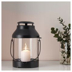 IKEA - UTSTRÅLNING, Lantern for candle, indoor/outdoor, black, Suitable for both indoor and outdoor use. Use only 1 block candle with a max. Vintage Candles, Tin Candles, Candle Jars, Nautical Candles, Hanging Candle Lanterns, Indoor Lanterns, Contemporary Candles, Recycling, Candle Warmer