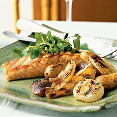 Easter Menu: Grilled Wild Salmon and Vegetables + Potato Salad + Berry Pavlovas | CookingLight.com