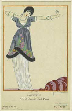 Lassitude, robe de dîner, de Paul Poiret :: George Lepape :: Gazette du Bon Ton :: 1912 :: NYPL