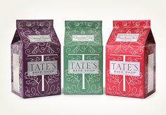 Tate's Bake Shop package - Louise Fili. Note how required info (net weight) seamlessly integrated into design.
