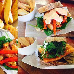 Lunch Sandwich: Chorizo Chicken or Aubergine Haloumi? You won't need any cutlery!  #eateryhermanus #sandwichtime #lunchinhermanus #spanishflavours #handcutchips